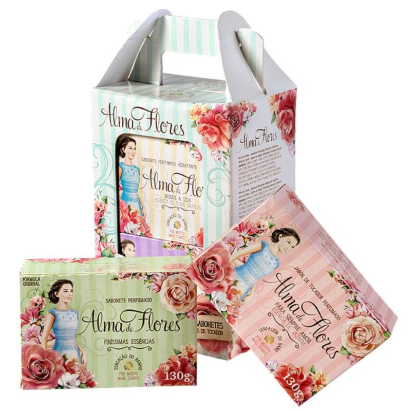 Kit Alma de Flores Perfume e Hidratação - Sabonetes em Barra 4x130g