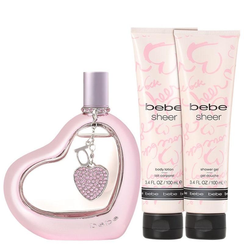 Conjunto Sheer Bebe Feminino - Eau de Parfum 100ml + Loção Corporal 100ml + Gel de Banho100ml + Estojo
