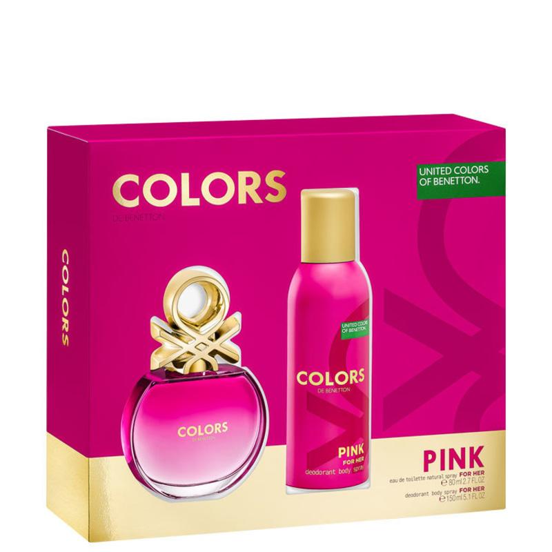 Conjunto Colors Pink Benetton Feminino - Eau de Toilette 80ml + Desodorante 150ml