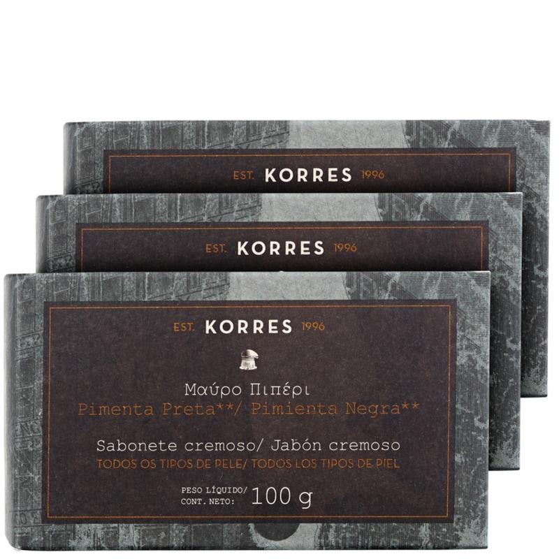 Kit Korres Pimenta Preta - Sabonetes em Barra 3x100g