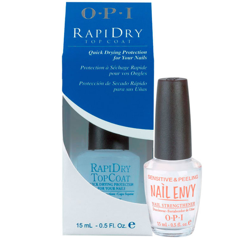 OPI Sensitive e Peeling e Rapidry Top Coat Kit (2 Produtos)