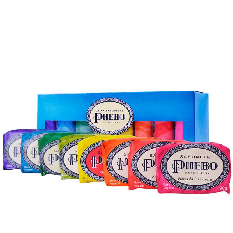 Kit Phebo Tradicional Caixa Azul - Sabonetes em Barra 8x90g