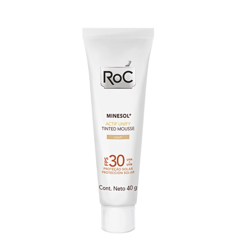 RoC Minesol Actif Unify Tinted Mousse Light FPS 30 - Protetor Solar Facial em Mousse 40g