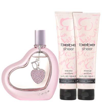 Bebe Conjunto Feminino Sheer - Eau de Parfum 100ml + Loção Corporal 100ml + Gel de Banho100ml + Estojo