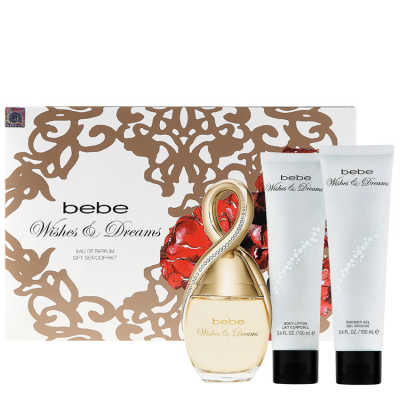 Bebe Conjunto Feminino Wishes and Dreams - Eau de Parfum 100ml + Loção 100ml + Gel 100ml