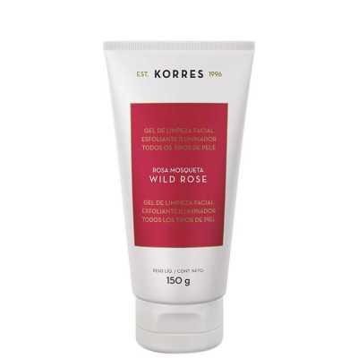 Korres Wild Rose - Gel de Limpeza Facial Esfoliante e Iluminador 150g