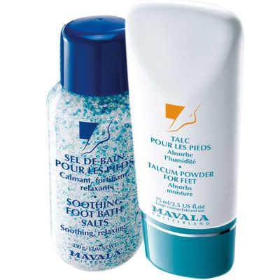 Mavala Talcum Powder for Feet e Smoothing Foot Bath Salts (2 Produtos)
