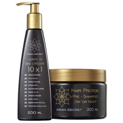 Asian Secret Hair Protein Pré-Shampoo BB Cream Kit (2 Produtos)
