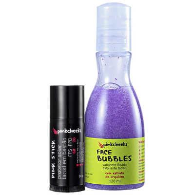 Pink Cheeks Face Bubbles Stick Pele Protegida Kit (2 Produtos)