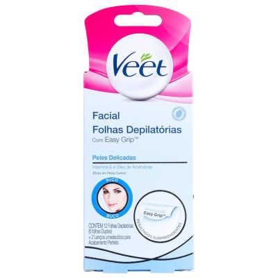 Veet Peles Delicadas - Folhas de Cera Fria para Depilação Facial 12un
