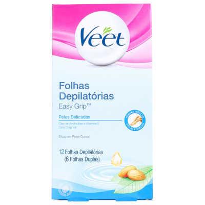 Veet Peles Delicadas - Folhas de Cera Fria para Depilação Corporal 12un