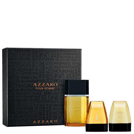 Conjunto Azzaro Pour Homme Masculino - Eau de Toilette 100ml + Gel de Banho 75ml + Gel Pós-Barba 75ml