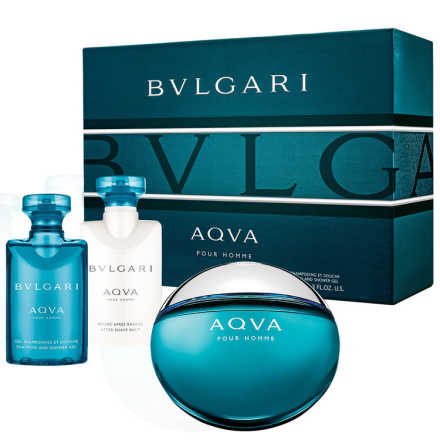 Conjunto Aqva Bvlgari Masculino - Eau de Toilette 50ml + Pós-Barba 40ml + Gel de Banho 40ml