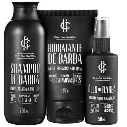 Cia da Barba Tratamento Completo para Barba Kit (3 Produtos)