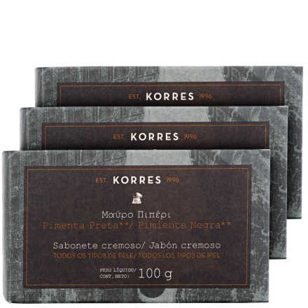 Korres Pimenta Preta – Kit de Sabonetes em Barra 3x100g