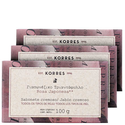 Korres Rosa Japonesa – Kit de Sabonetes em Barra 3x100g