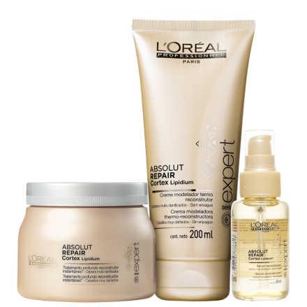 L'Oréal Professionnel Absolut Repair Cortex Escova Reconstrução Kit (3 Produtos)