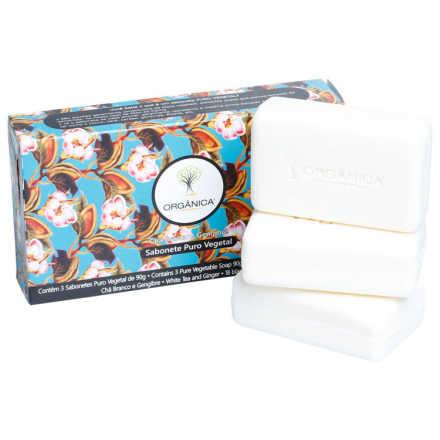 Orgânica 3 Sabonetes Chá Branco e Gengibre Kit (3 Produtos)