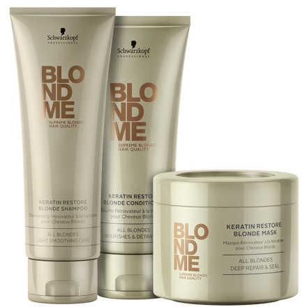 Schwarzkopf Professional BlondMe Keratin Restore All Blondes Trio Kit (3 Produtos)