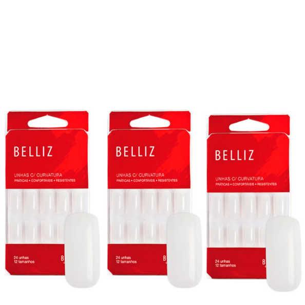 Belliz Unhas Postiças Com Curvatura Kit (3 Produtos)