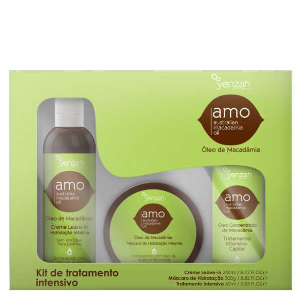 Yenzah Amo Australian Macadamia Oil Kit de Tratamento Intensivo (3 Produtos)