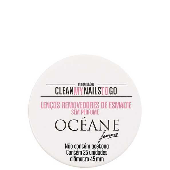 Océane Femme Clean My Nails To Go Sem Perfume - Lenço Removedor de Esmalte 25un