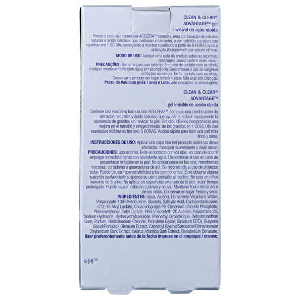 Clean & Clear Advantage Gel Invisível de Ação Rápida - Secativo Antiacne 15g