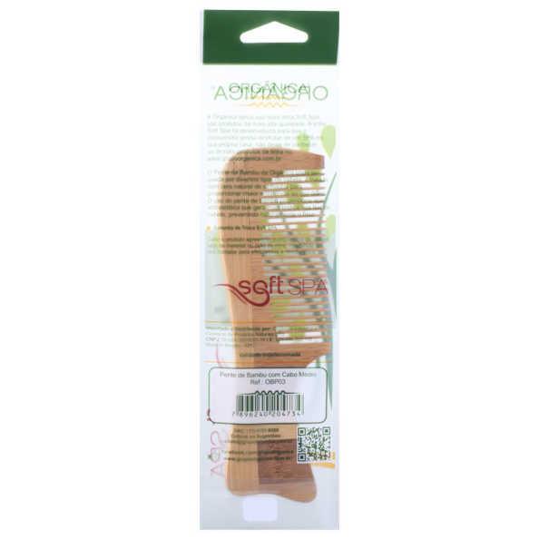 Orgânica Bambu Cabo Médio - Pente de Cabelo