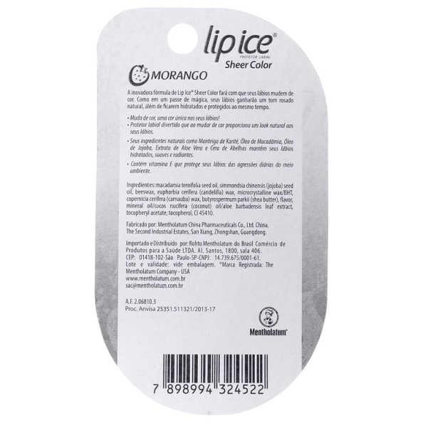 Lip Ice Sheer Color Morango - Hidratante Labial 2g