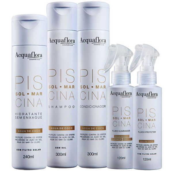 Acquaflora Sol Mar Piscina Protetor Iluminador Hidratante Kit (5 Produtos)