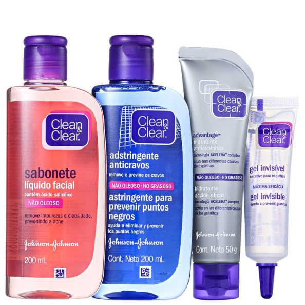 Clean & Clear Antiespinha e Anticravos Kit (4 Produtos)