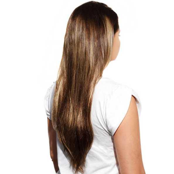 Hairdo Liso em Camadas - Castanho Com Mechas Douradas 48 Cm