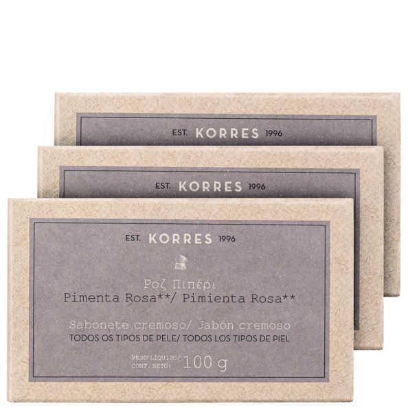 Kit Korres Pimenta Rosa - Sabonetes em Barra 3x100g