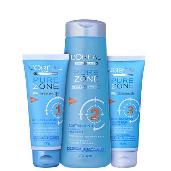 L'Oréal Paris Dermo-Expertise Pure Zone Limpeza Profunda Kit (3 Produtos)