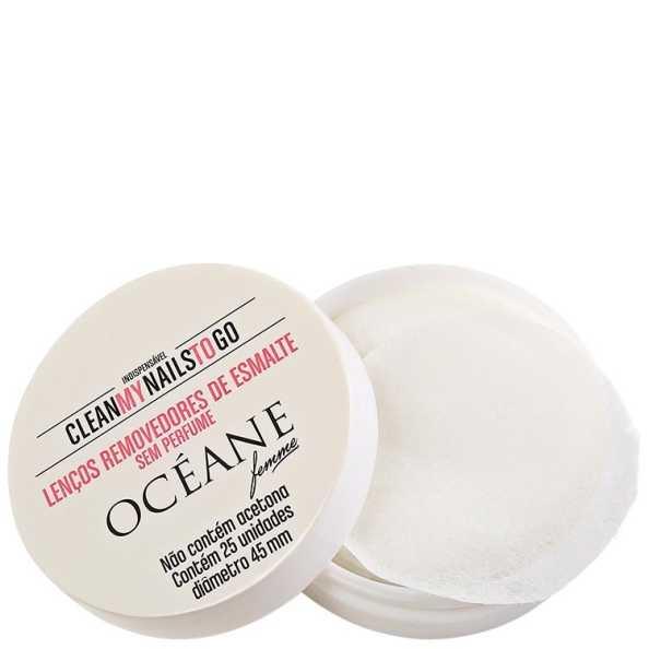 Océane Femme Clean My Nails To Go Sem Perfume - Lenço Removedor de Esmalte 25 un (Cartela)
