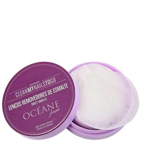 Océane Femme Clean My Nails To Go Sweet Vanilla com Cartela - Lenço Removedor de Esmalte (25 unidades)