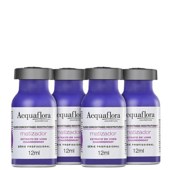 Acquaflora Antioxidante Fluído Concentrado Reestruturante Matizador - Ampola 4 x 12ml
