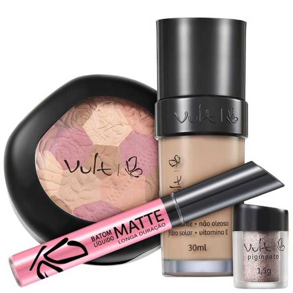 Vult Make Up 01 Bege Mosaico Pigmento Kit (4 Produtos)
