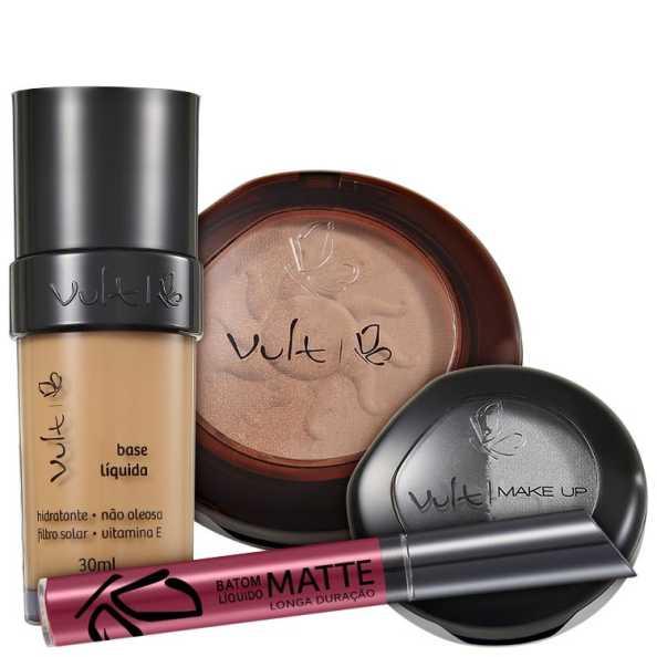 Vult Make Up 04 Marrom Duo Soleil Matte Kit (4 produtos)