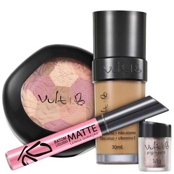Vult Make Up 04 Marrom Mosaico Pigmento Kit (4 Produtos)