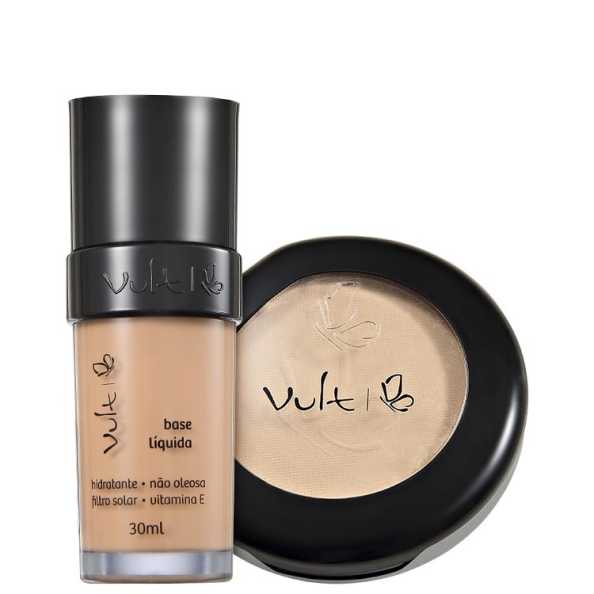 Vult Make Up Base Pó 02 Bege Rosa Kit (2 Produtos)