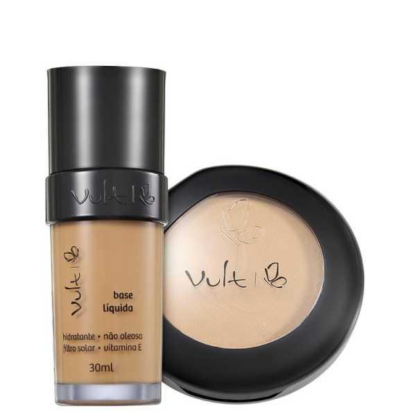 Vult Make Up Base Pó 04 Bege Marrom Kit (2 Produtos)